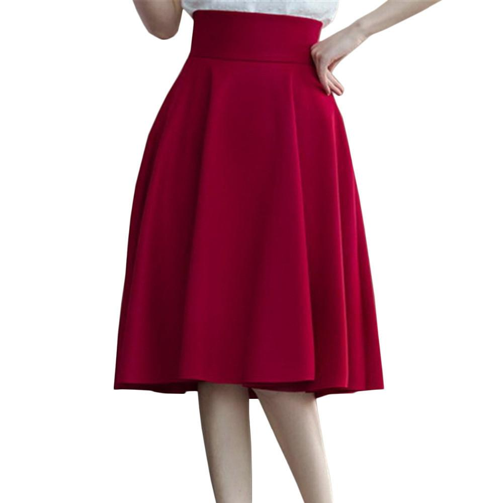 Stylish High Waist Pleat Elegant Skirt-Dress-SheSimplyShops