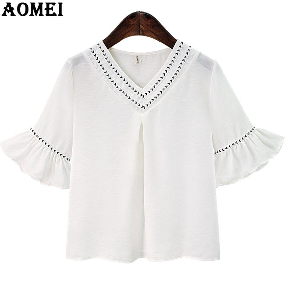 Summer Cute Blouses for Women White Color V Neck Shirts Flare Sleeve Female Lolita Blusas Casual Fashion Tops-Blouse-SheSimplyShops