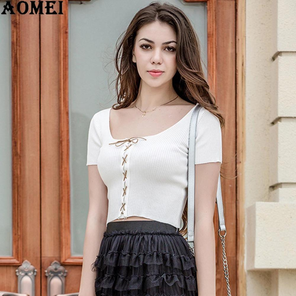 Women Short Sleeves Casual T Shirt Crop Tops O Neck Summer Sexy Slimming Woman Clothing White Color Fashion Tshirts Tee-SHIRTS-SheSimplyShops