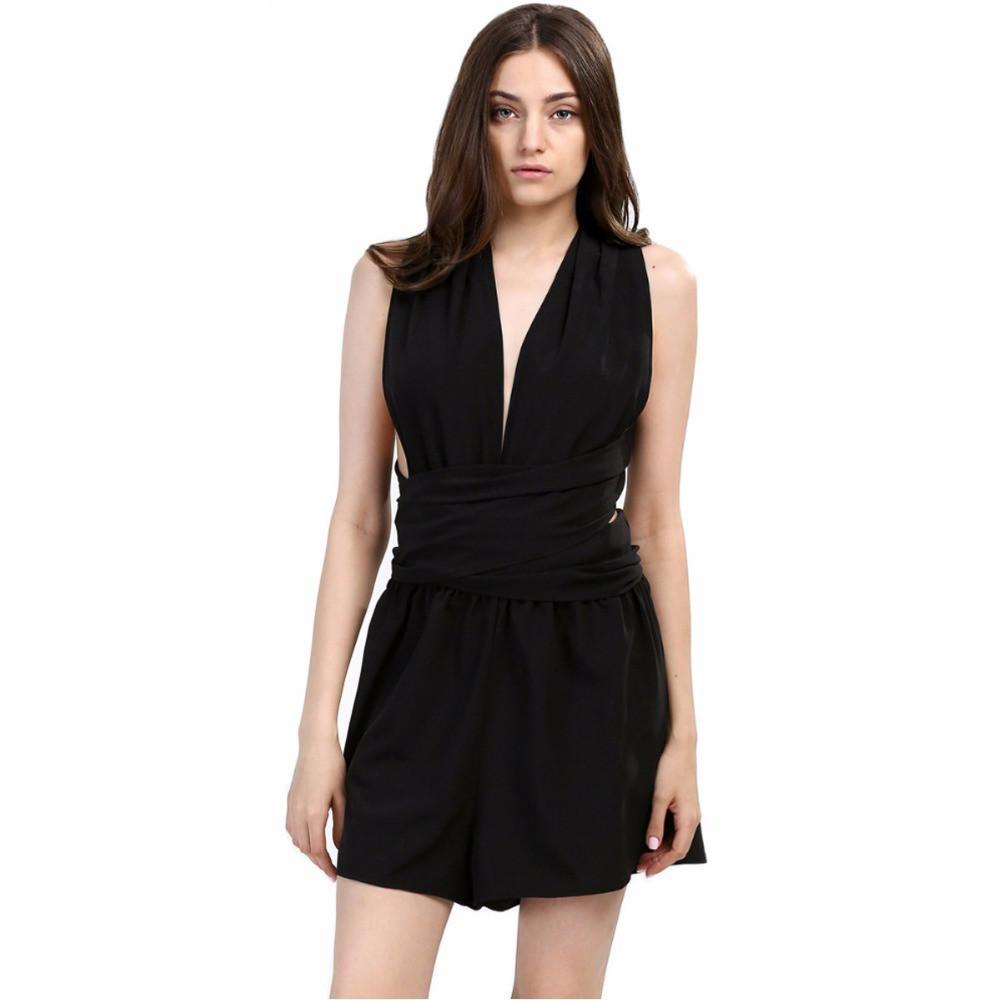 Womens jumpsuit chiffon sexy fashion sale black backless bodysuit sexy play.-ROMPERS & JUMPSUITS-SheSimplyShops