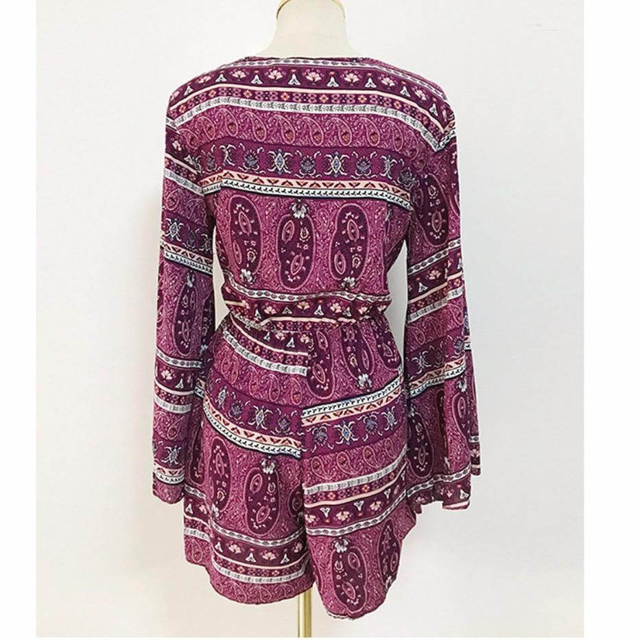 Purple Red Print Chiffon Summer Playsuits Long Sleeve Holiday Beach One Piece Jumpsuits Overall Junior Girls Clothing Boho Pants-ROMPERS & JUMPSUITS-SheSimplyShops