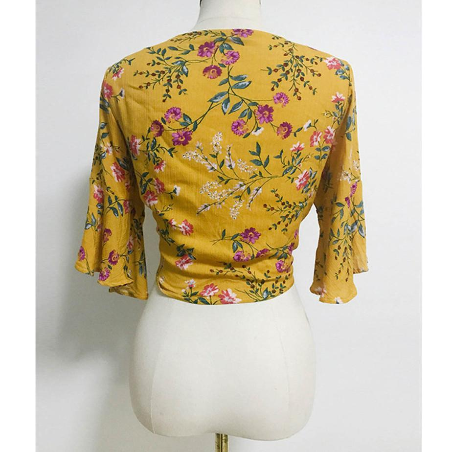 Sexy V Neck Summer Yellow Short Tops Half Sleeve Blouse-Blouse-SheSimplyShops