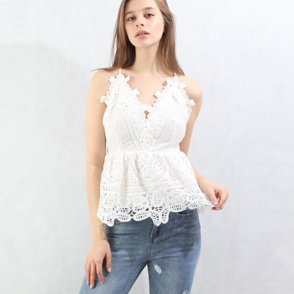Women Summer Blouse Casual Wear Lace Backless V Neck Fashion Lady Sexy Tops Sleeveless-Blouse-SheSimplyShops