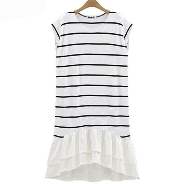Cotton Chiffon Patchwork Stripe Robes Sleeveless Dresses Lady Summer Gown Clothing-Dress-SheSimplyShops