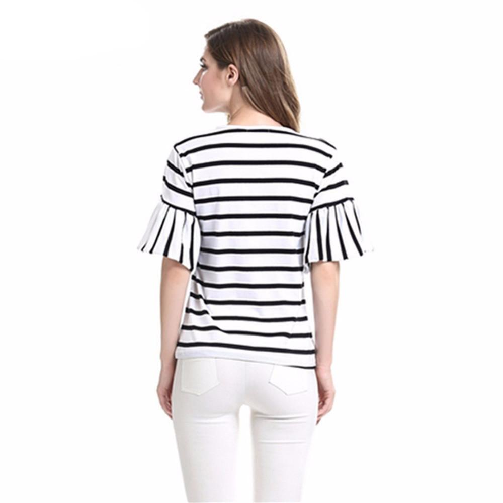 Women Butterfly Sleeve Casual Striped Black and White O Neck Summer Spring T-shirt-SHIRTS-SheSimplyShops