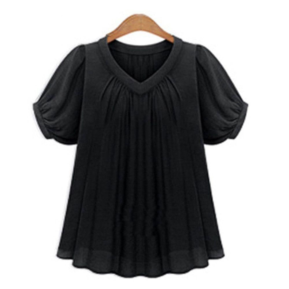 Chiffon Blouse Short Sleeve for Women Fashion Summer Tops V Neck Female Blusas Shirts Casual Work Wear-Blouse-SheSimplyShops