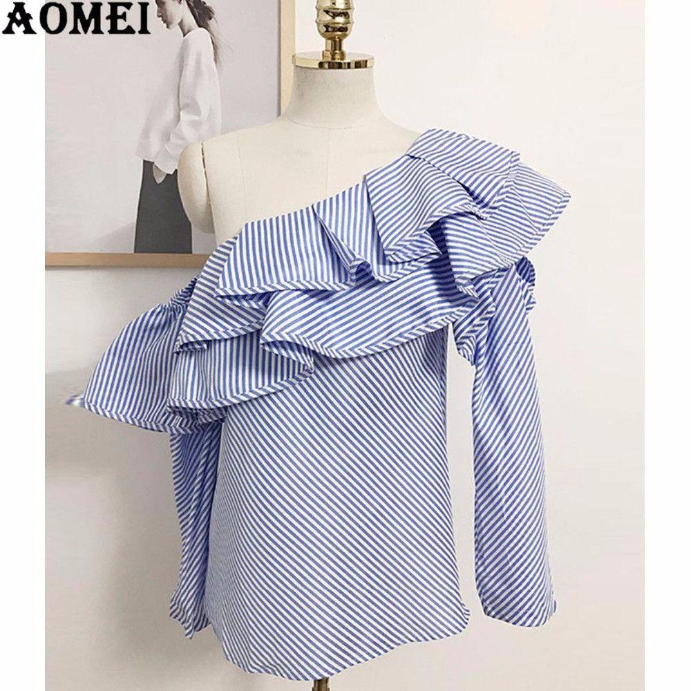 Blue White Stripe Blouse with Ruffled Trim Skew Collar Long Sleeve Summer Autumn Fashion Shirts Junior Girls Tops-Blouse-SheSimplyShops