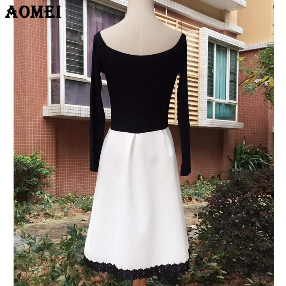 White and Black Patchwork Color Dress for Women Retro A Line Girl Casual Tunic Full Sleeve Slash Neck Dresses-Dress-SheSimplyShops