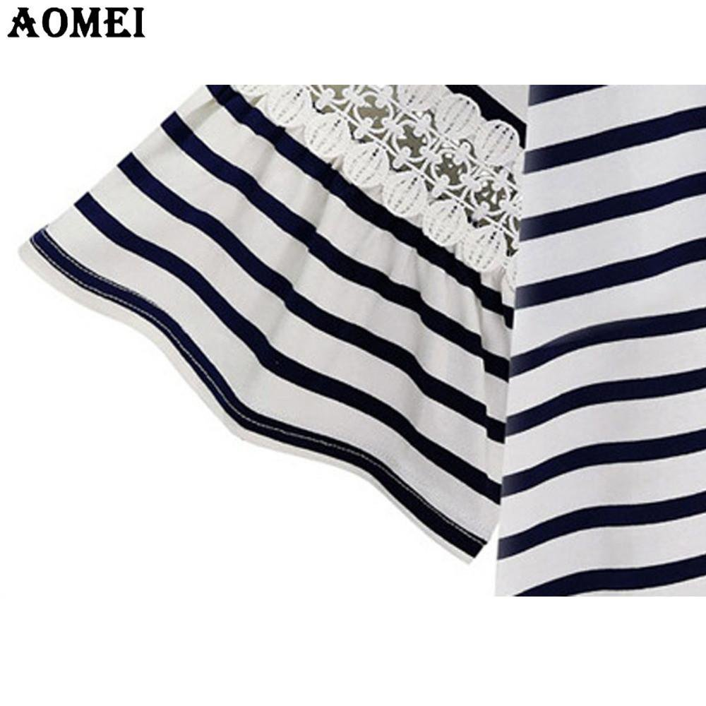Navy Blue and White Stripe Women Fashion Tee Shirts with Lace Flare Sleeve Irregular Summer Tops Clothing-SHIRTS-SheSimplyShops