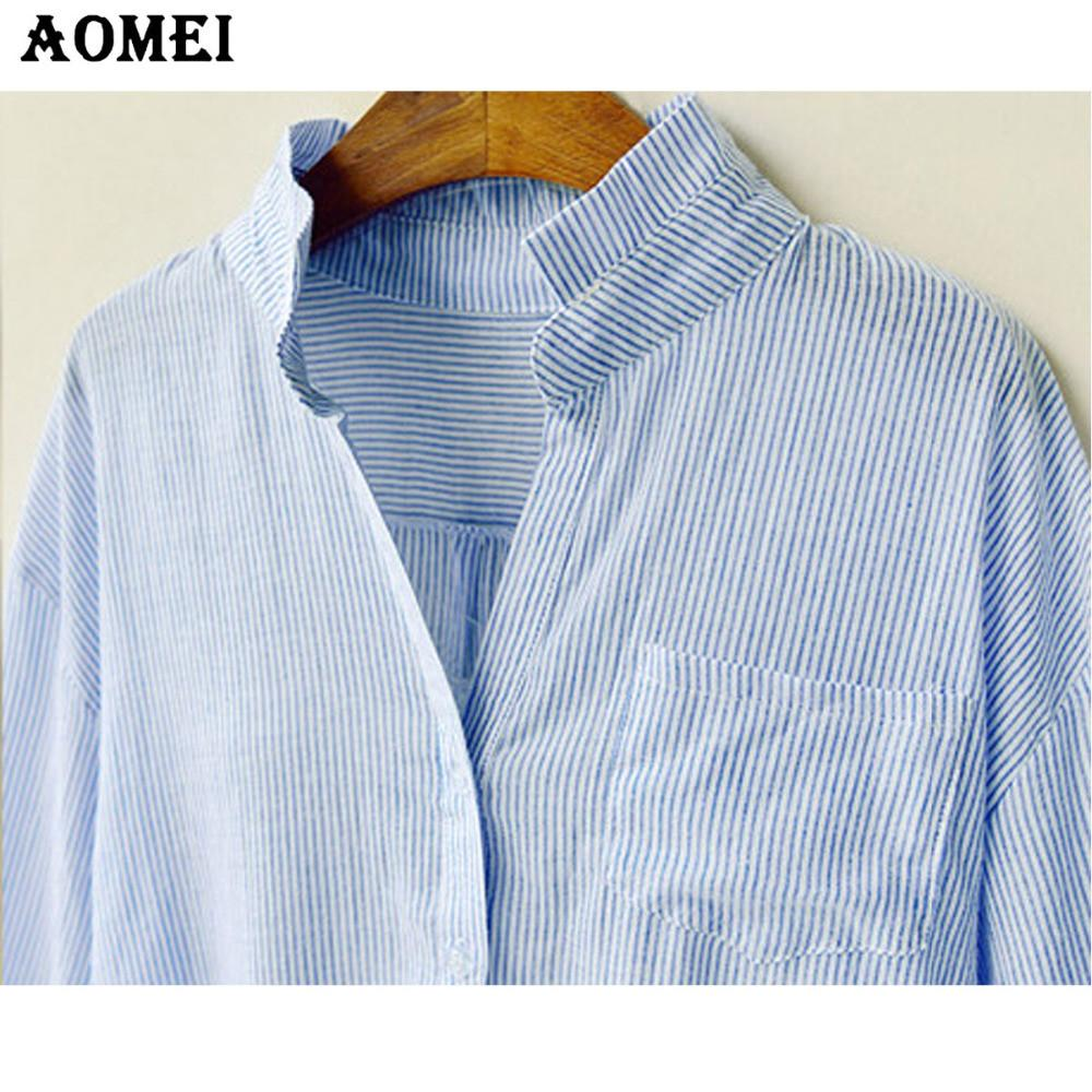 Women Tee Shirts Cotton Blue Stripe Color Casual Fashion Spring Summer Three Quarter Sleeve Tops New Arrival Blouse-Blouse-SheSimplyShops