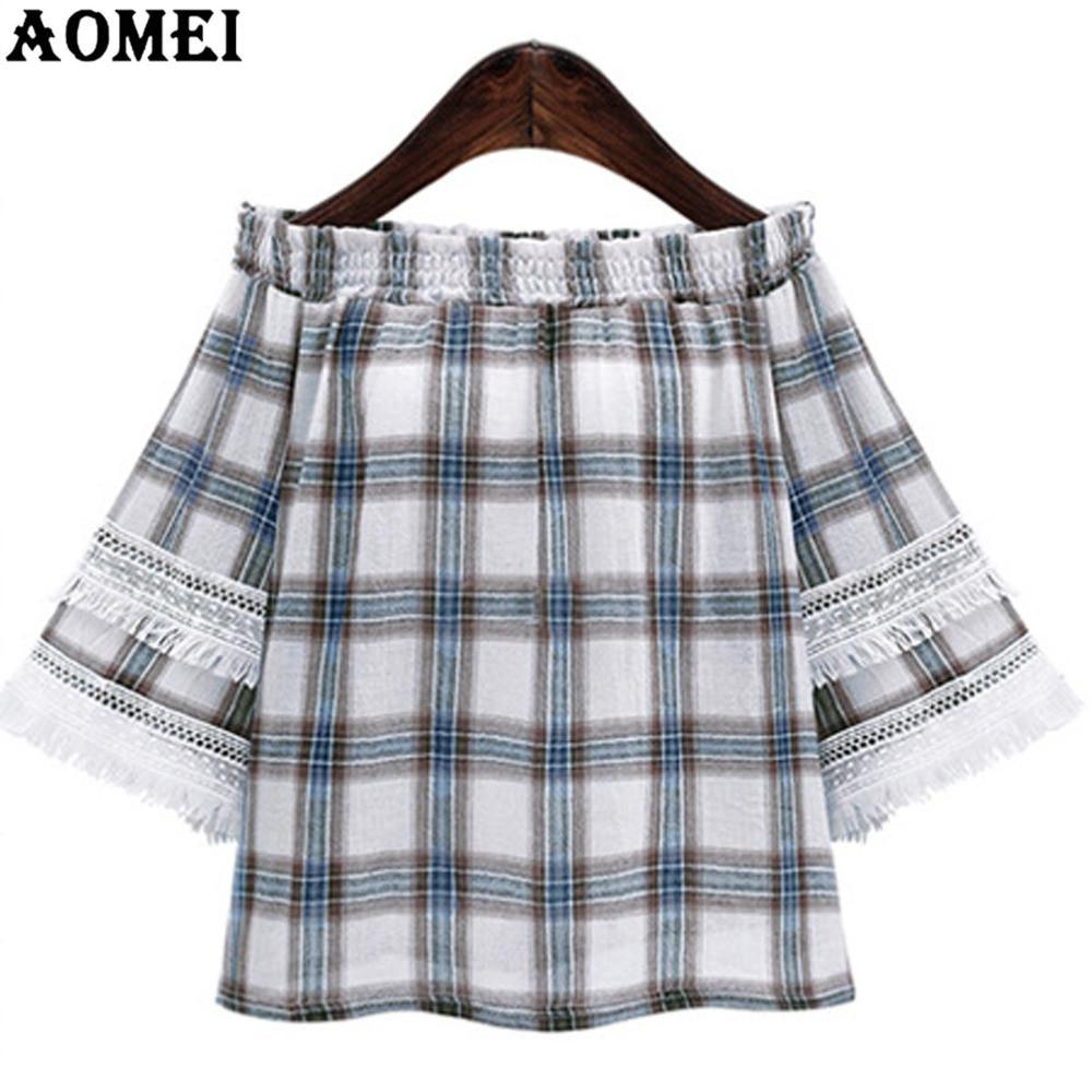 Off the Shoulder Women's Fashion Blouse and Shirts Plaid Off The Shoulder Girls Sexy Summer Clothing Neck Tops-Blouse-SheSimplyShops