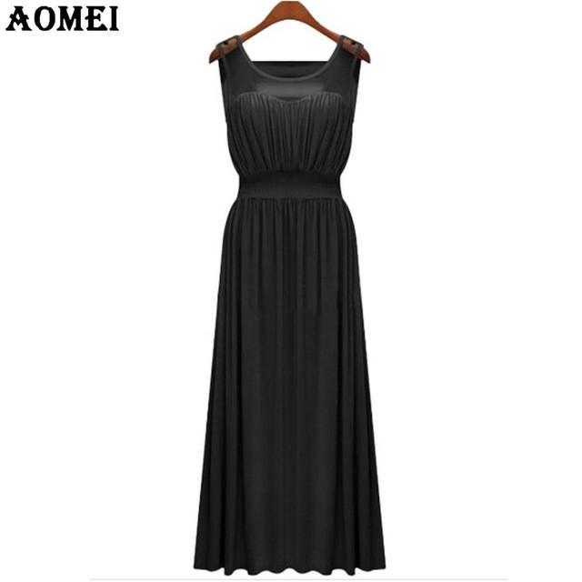 Summer Elegant Long Dress Cotton Sundress Pink Gray Lady High Waist Pleated Casual Pleat Maxi Dresses Black Sleeveless Gowns-Dress-SheSimplyShops