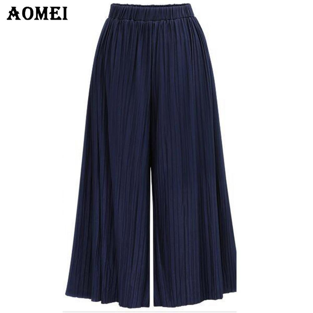 Summer Fashion Wide Leg Pants for Women Blue High Waist Pleated Loose Fit Trousers Ladies Autumn Casual Pants-PANTS-SheSimplyShops