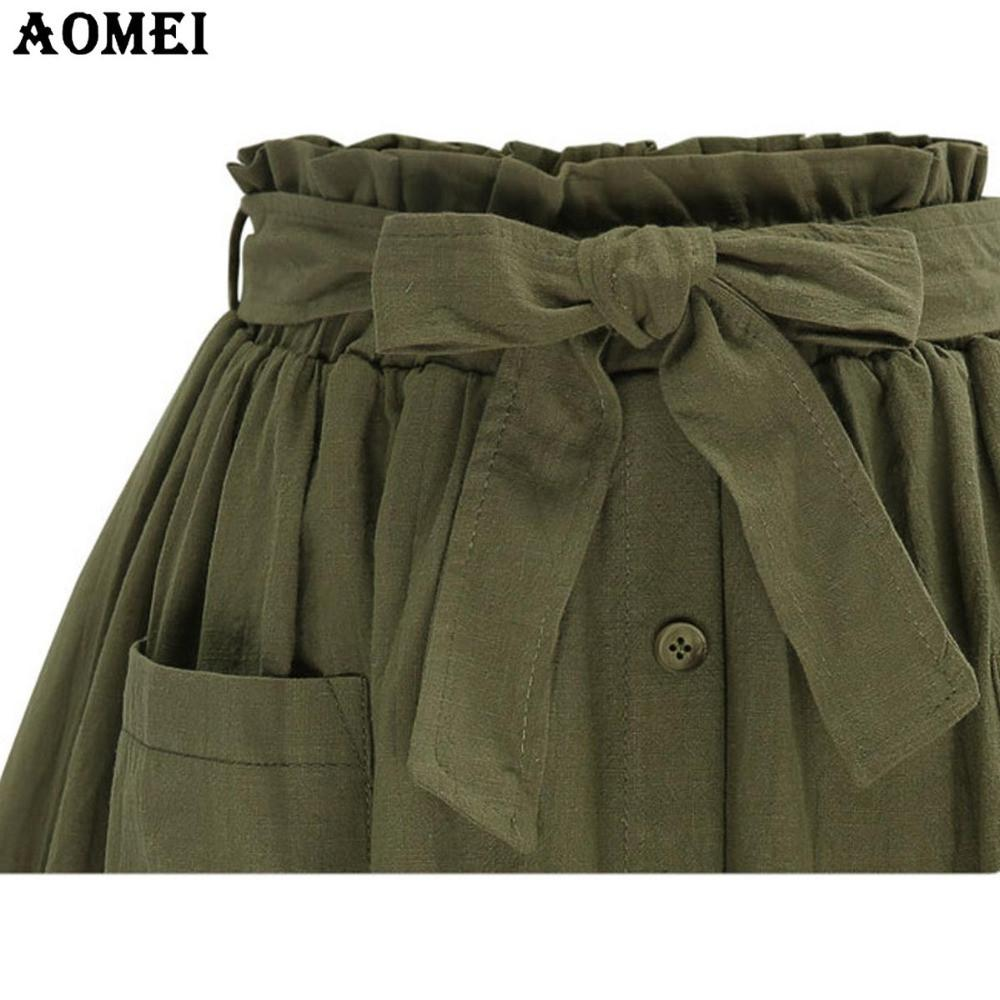 Women Summer Army Green Skirt A Line With Waistbelt Girls Casual Linen Slim New Female Faldas Fashion Jupe Clothes Saias-Dress-SheSimplyShops