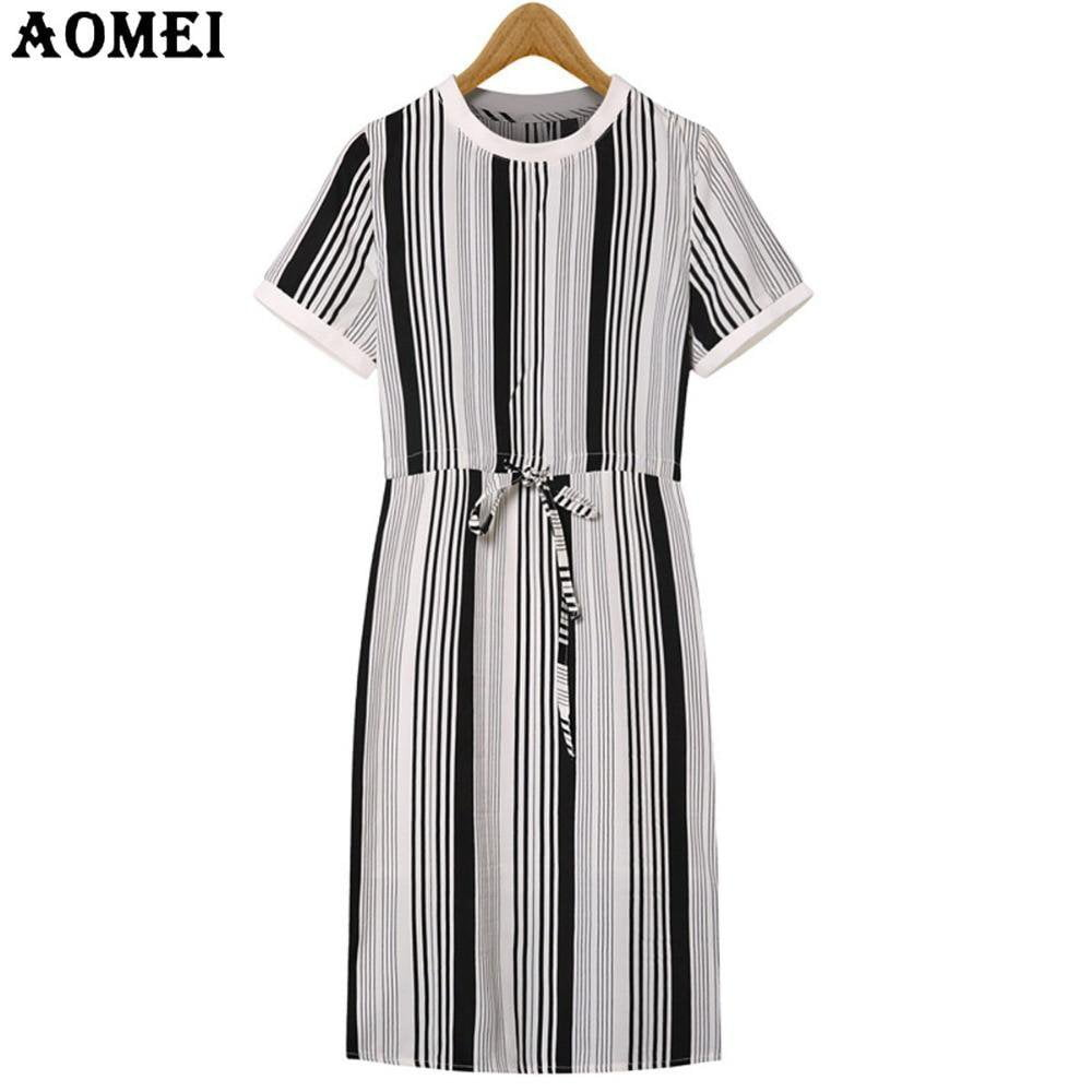 Women Casual Dress Short Sleeve Round Neck Strip Knee Length Fashion Summer Lady Clothing Dresses Tunics Robes-Dress-SheSimplyShops
