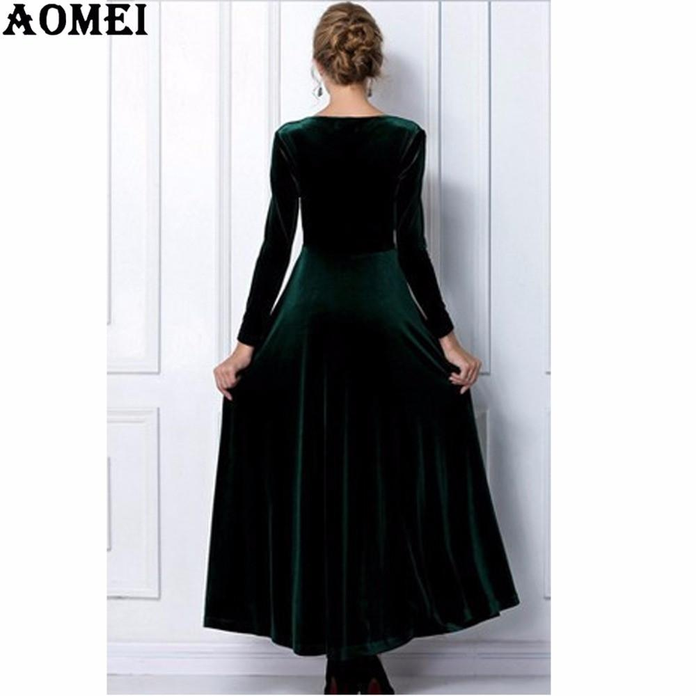 Women Wine Redding Fits Flared Dresses Velvet Warm Dress Dresses Winter Ankle Length Maxi Casual Tunics Robes-Dress-SheSimplyShops