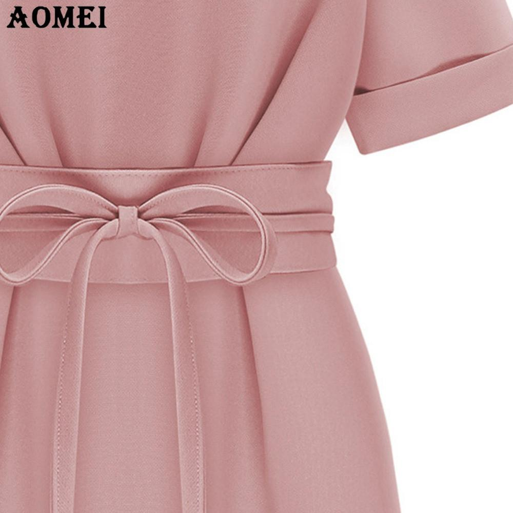 New Women's Summer Dress Pink Black color Casual Mini Dresses with Waist belt Female Office Lady-Dress-SheSimplyShops