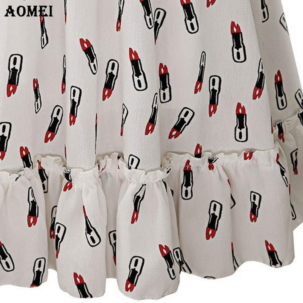 Summer Dress Printing Cute Dress Knee Length for Women White Black Color Girls Spring Long Sleeve Chiffon Casual Robes-Dress-SheSimplyShops