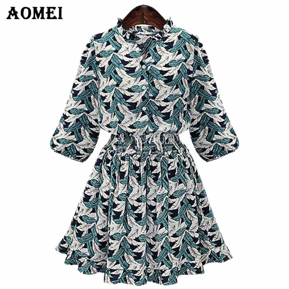 Print Floral Summer Short Sleeve Dress for Women Blue Green Color Casual Clothing Girls Lolita Knee Length-Dress-SheSimplyShops