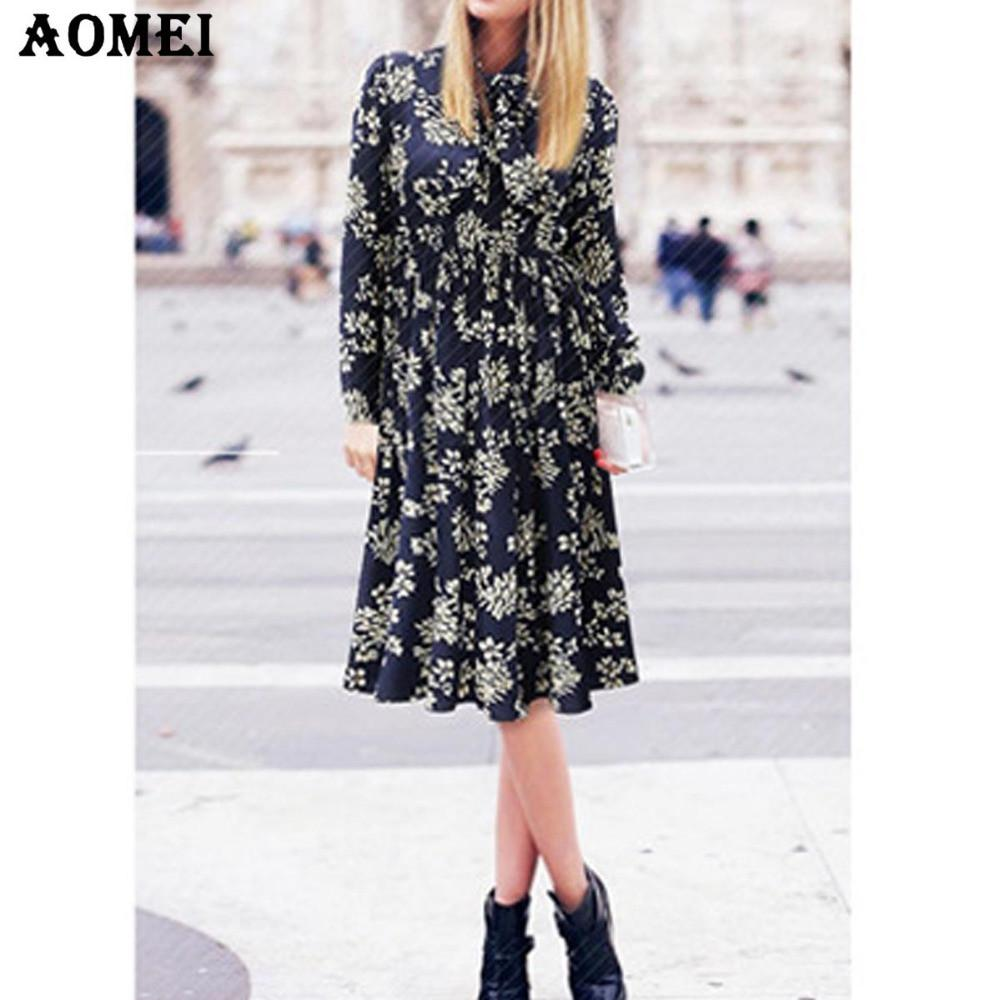 Print Floral Knee Length Dress for Women New Fashion Ladies Casual Elegant Spring Summer Blue Dresses Bow tie-Dress-SheSimplyShops