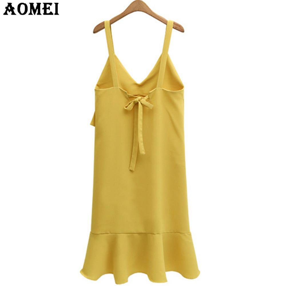 Fashion Girls Yellow Black Drawstring Dress Ruffles Casual Spaghetti Strap Robes Black Lady Summer Dresses Gown-Dress-SheSimplyShops