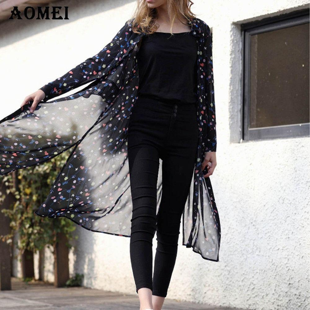 Blue Color Chiffon Long Blouse Print Flower Summer Spring Fashion Tops for Women Fashion Long Sleeve Cover Ups-Blouse-SheSimplyShops