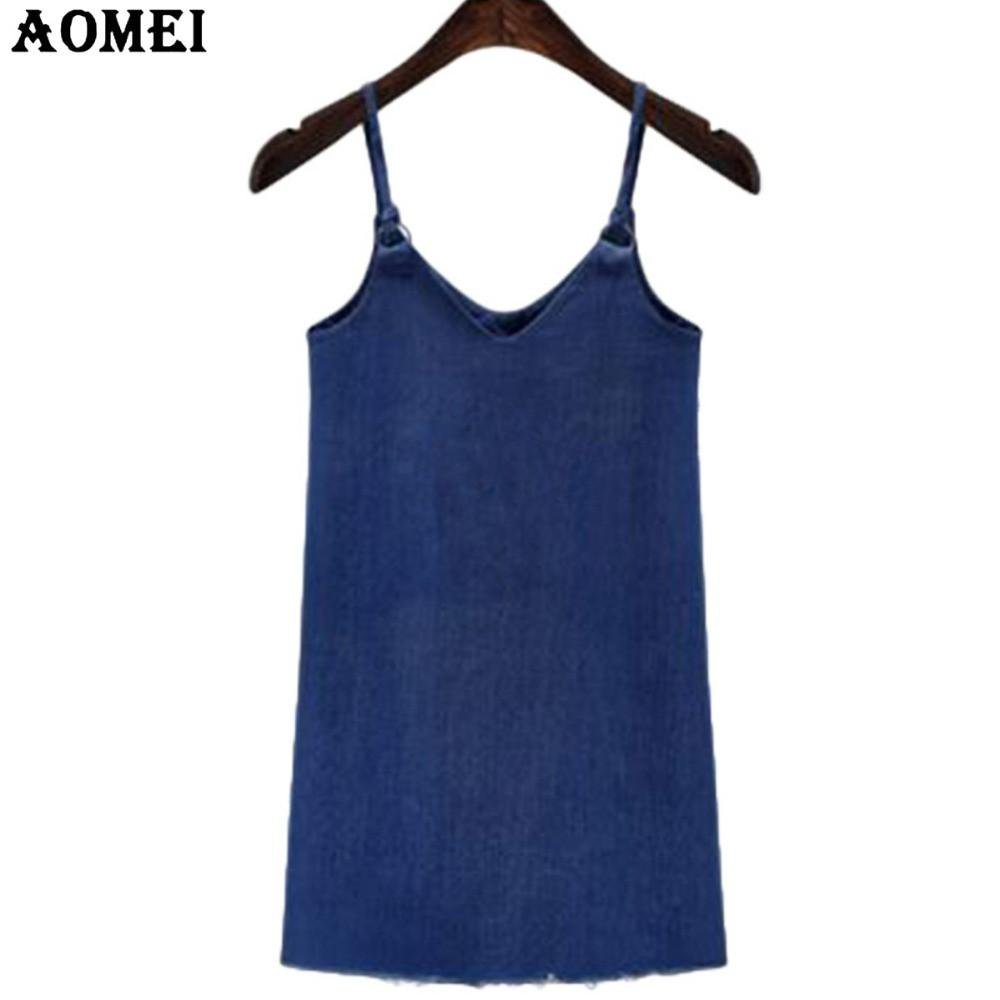 Fashion Girls Blue Mini Dress Sleveless Casual Spaghetti Strap Blue Denim Robes Sexy Lady Summer Dresses Gown-Dress-SheSimplyShops