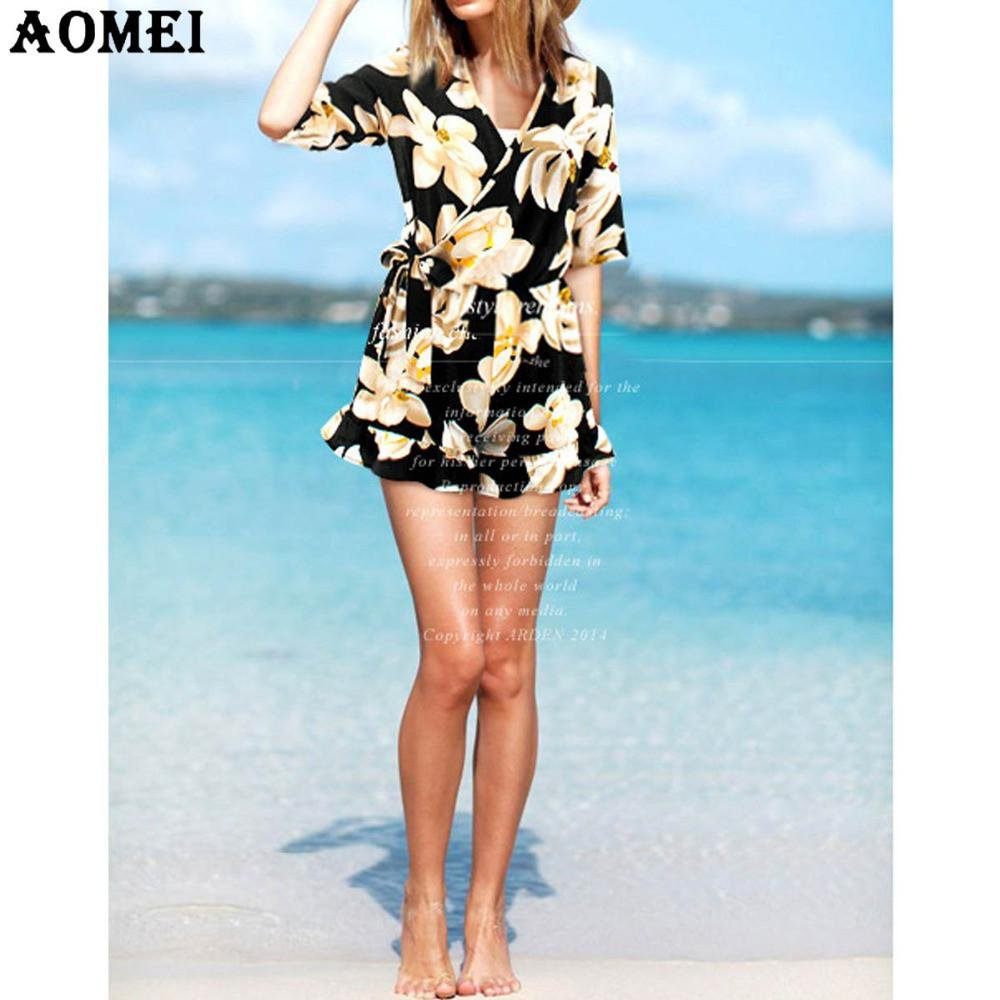 Women Summer Jumpsuit Print Floral High Waist Loose Fit Overalls Sexy Beachwear Rompers V Neck Ruffles Sleeve Playsuits Clothes-ROMPERS & JUMPSUITS-SheSimplyShops