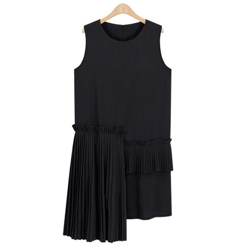 Women Summer Casual Pleated Dress Sundress White Black Mini Dresses Sleeveless Dress-Dress-SheSimplyShops