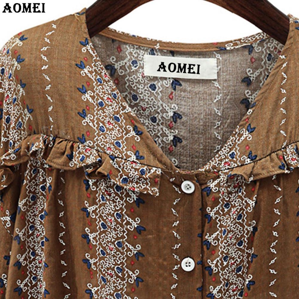 Printing Blouse for Women Coffee White Color Female Summer Spring Fashion Casual Shirts Pleat Retro Tops-Blouse-SheSimplyShops