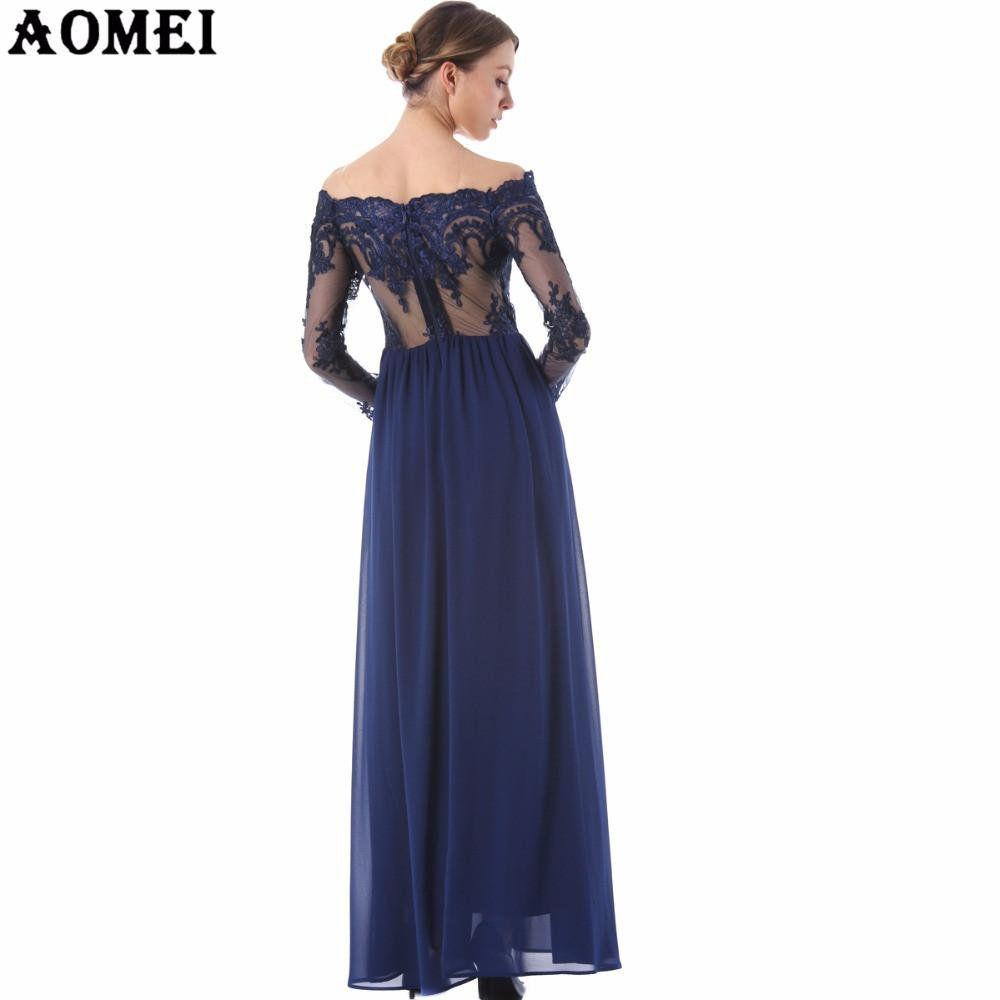 Lace Transparent Juniors Girls Prom Party Dress Off the Shoulder Maxi Floor Length Chiffon Summer Fashion Tunics Gowns-Dress-SheSimplyShops