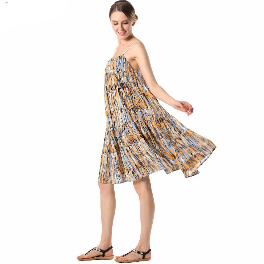Women Print Floral Beachwear Red Loose Fit Sundress Casual Spaghetti Strap Robes Chiffon Gowns-Dress-SheSimplyShops