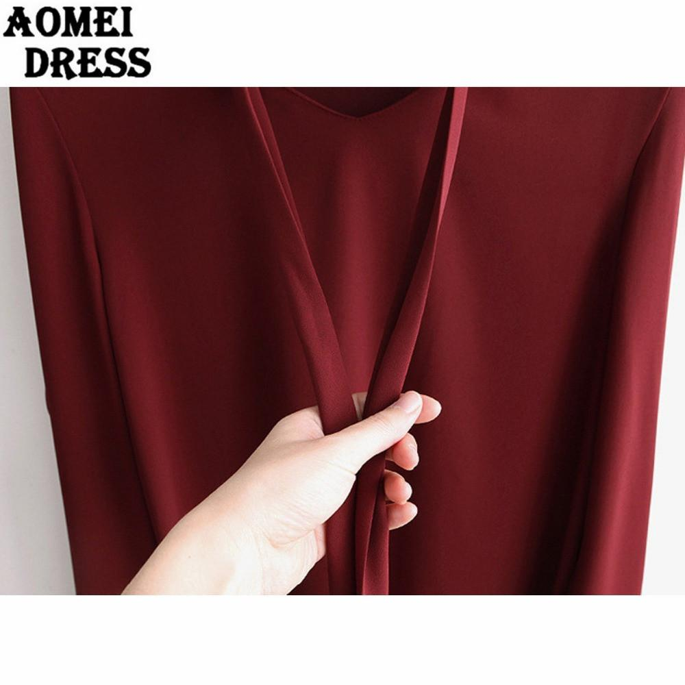 Women Autumn Long Sleeve V Neck Bow tie Blouse Wine Red Color Black Office Ladies Casual Tops Fall Shirts V Neck Wear-Blouse-SheSimplyShops