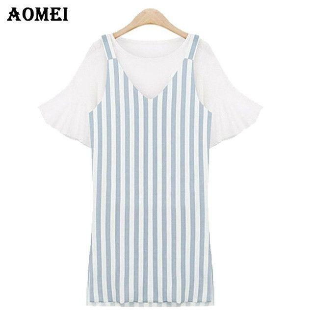 Blue Pink Striped Dress for Women Casual O Neck Summer Fashion Girls Cute Strap Mini Dresses-Dress-SheSimplyShops