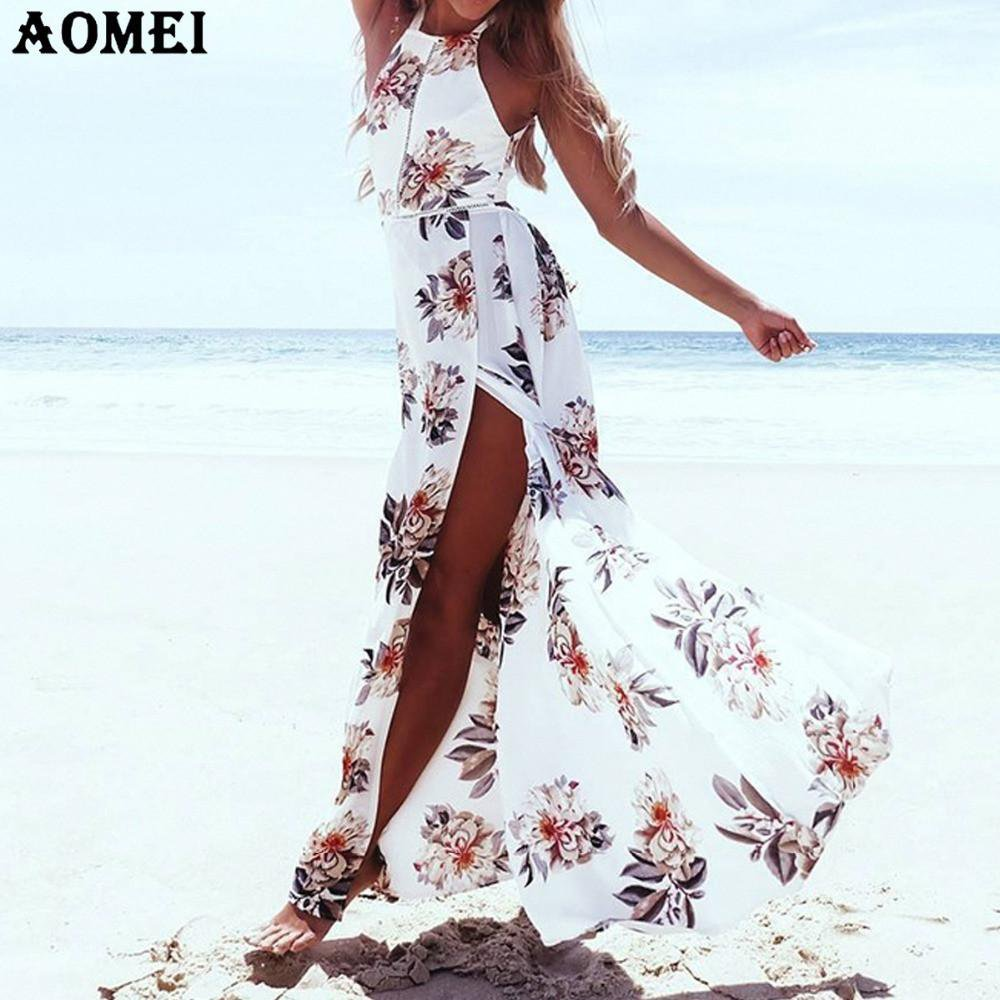 Summer White Maxis Long Dress with Print Flower Backless Beachwear Tunics Beach Dresses Gowns for Women Floral Lolita-Dress-SheSimplyShops