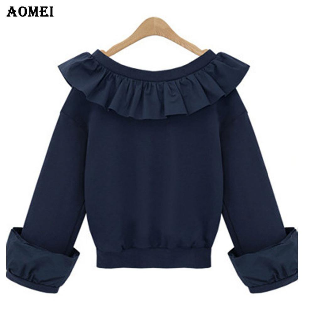 New Women Tee Shirts V Neck with Trim Ruffles Long Sleeve Casual Fashion Office Lady Work wear Summer Tops Female Shirts-SHIRTS-SheSimplyShops