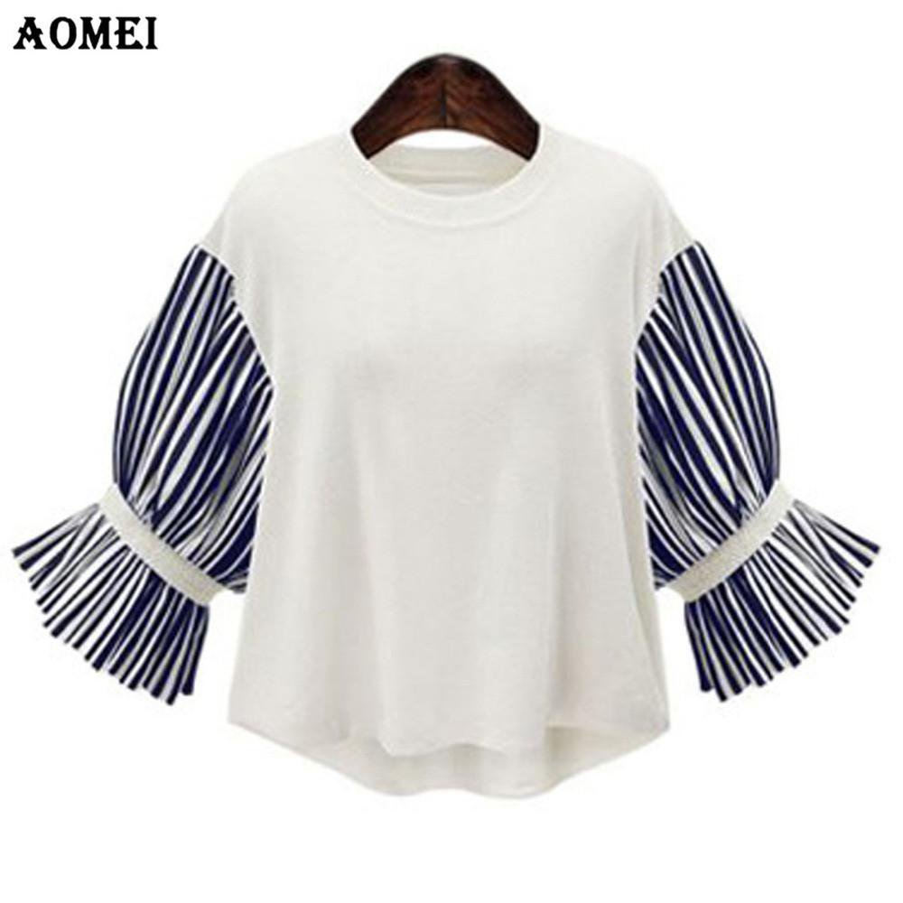 Loose Fit Spring Blouse Shirts for Women Black White Striped Vintage Tops Casual Summer Office Lady Work Wear Blouses Clothes-Blouse-SheSimplyShops