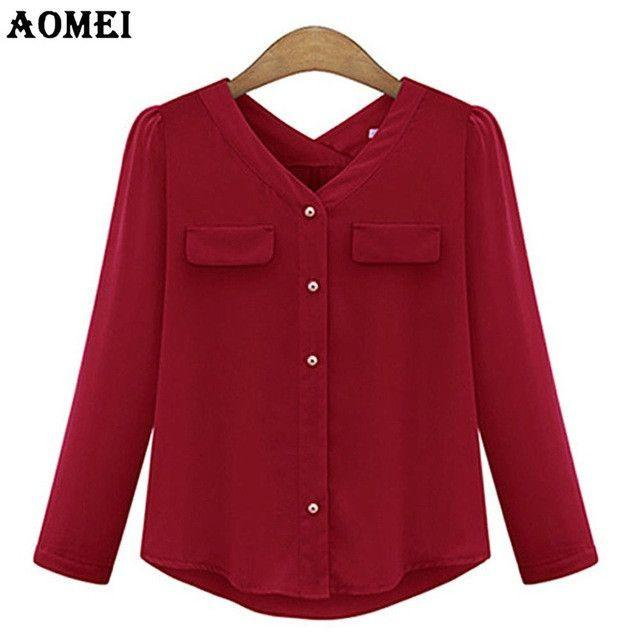 Chiffon Blouse for Women ClothingV Neck Red Black Color Female Summer Spring Ladies Casual Shirts Tops-Blouse-SheSimplyShops