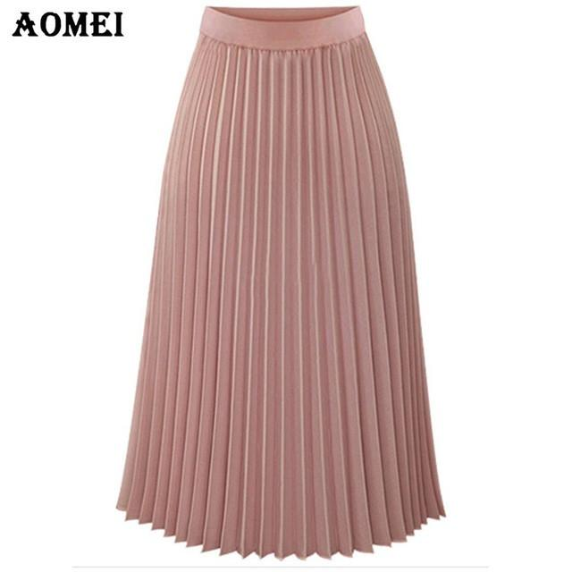 Spring Pleated A Line Skirt for Womens Black Pink Color High Waist Knee Length Girls Lolita Cute Jupe Ladies Skirts-Dress-SheSimplyShops