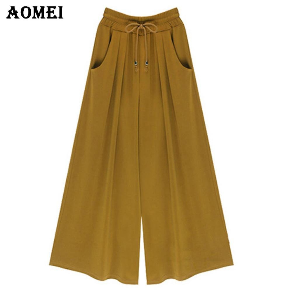 Loose Fit Office Women Summer High Waist Wide Leg Pants Pockets Green Black Casual Trousers Beachwear-PANTS-SheSimplyShops