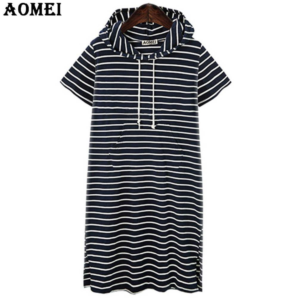 Short Sleeve Summer Casual Hoodies Sweatershirt Tunics Pullover Black Blue Stripe Women Fashion Mini Cotton Robes Gowns Clothes-HOODIES-SheSimplyShops