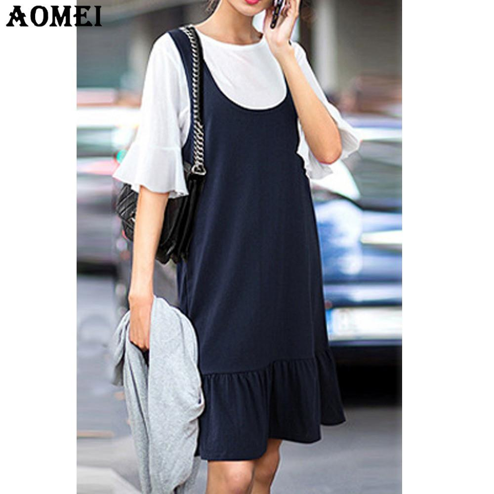 Women Two Piece Set Tee Shirts with Overalls Dress Lady Ruffles Suit Casual Summer Cotton Tops Dresses Clothing-Dress-SheSimplyShops