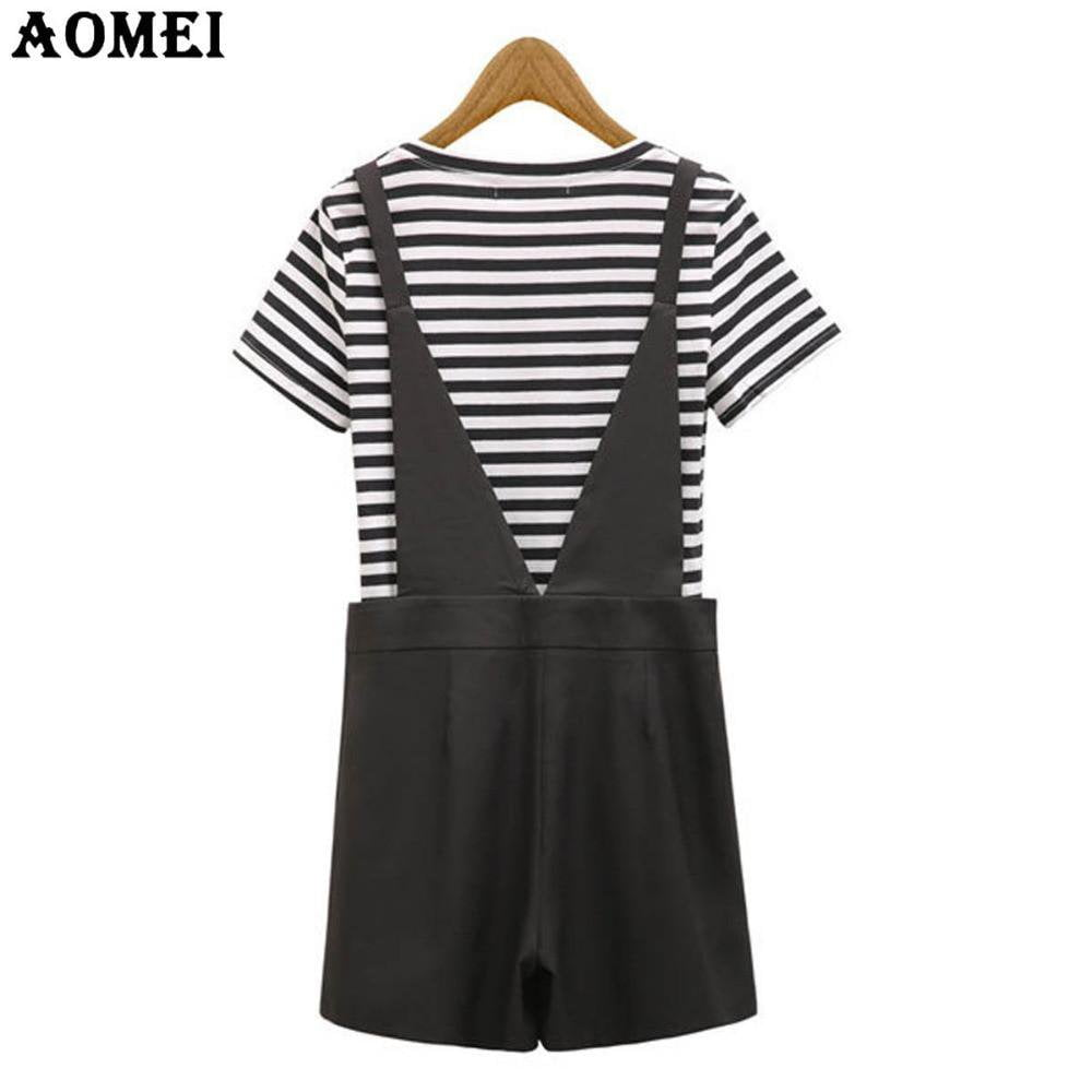 Fashion Black Stripe Tee Shirts with Jumpsuits Women New Lady Two Piece Sets Short Sleeve Summer Casual Bodysuits Overalls-ROMPERS & JUMPSUITS-SheSimplyShops