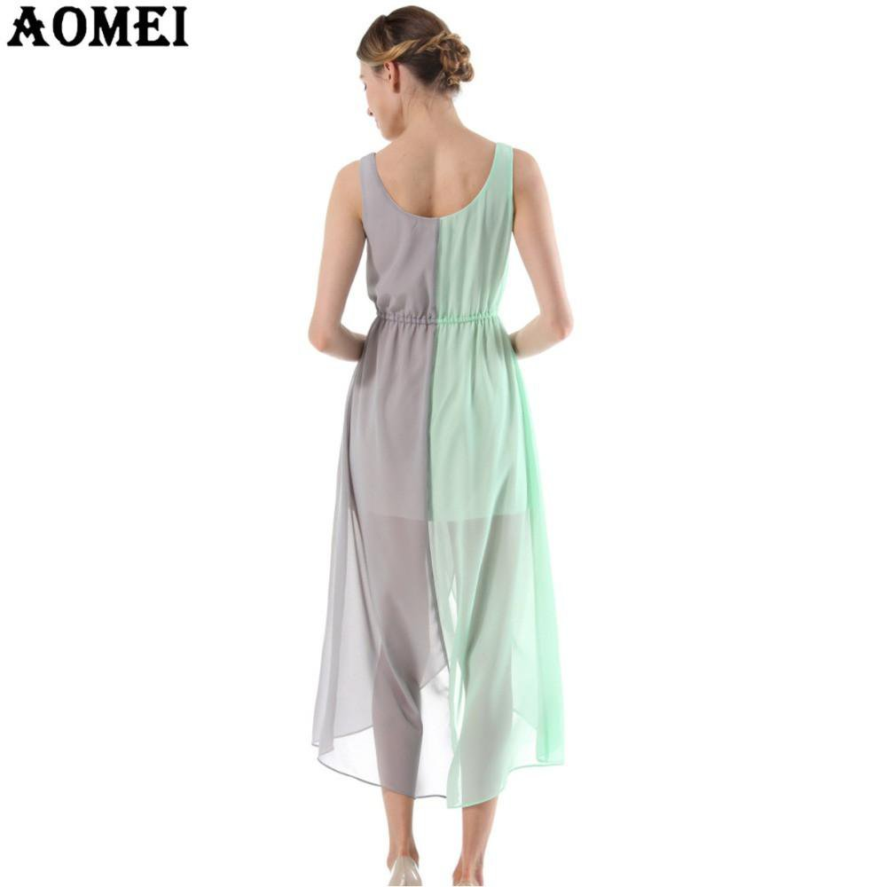 Women Irregular Beach Dress Green and Gray Sundress Chiffon Juniors School Girls Summer Dresses Tunics-Dress-SheSimplyShops