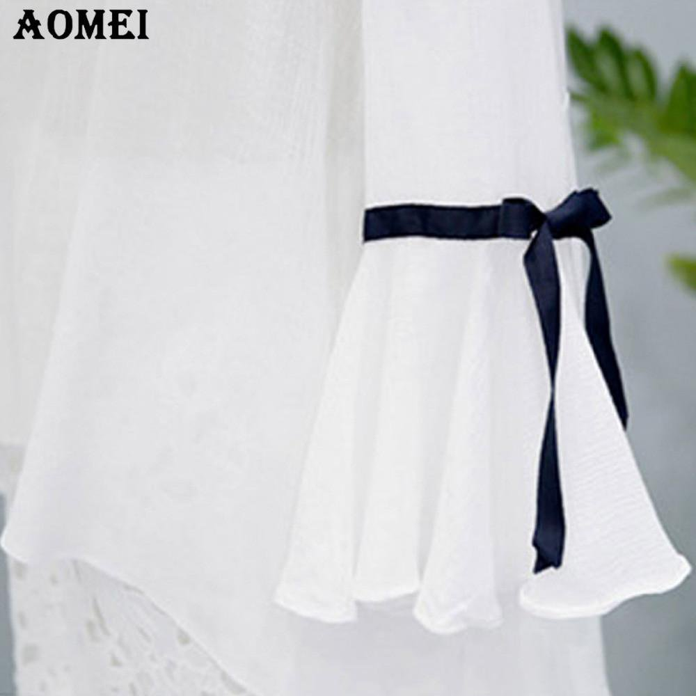 Spring Summer Transparent Cute Blouses for Women White Color O Neck Shirts Flare Sleeve Female Bow tie Tops-Blouse-SheSimplyShops