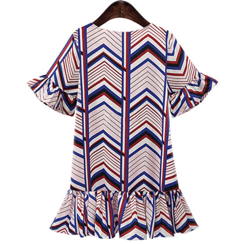 Women Summer Dress Printing Mini Short Sleeve Ruffles Beach Dress Loose Flare Tunic Female Beachwear Gowns Dresses-Dress-SheSimplyShops