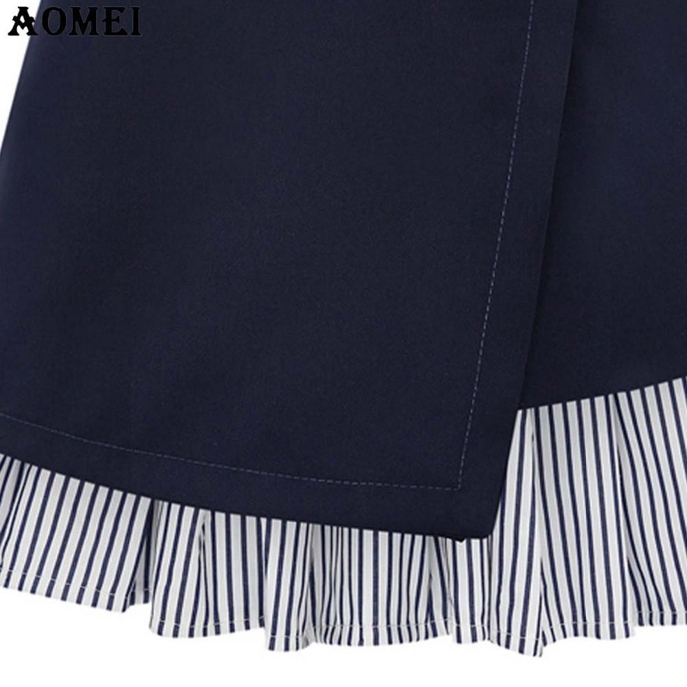 Women Summer Dark Blue Color Mini Skirt with Stripe Ruffles Trim A Line Lady Office Clothing-Dress-SheSimplyShops