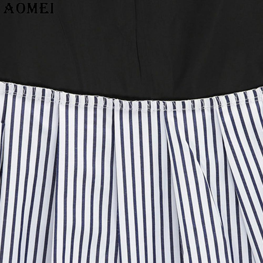 Women Summer Dark Blue Color Mini Skirt with Stripe Ruffles Trim A Line Lady Office Jupe Clothing Saias-Dress-SheSimplyShops