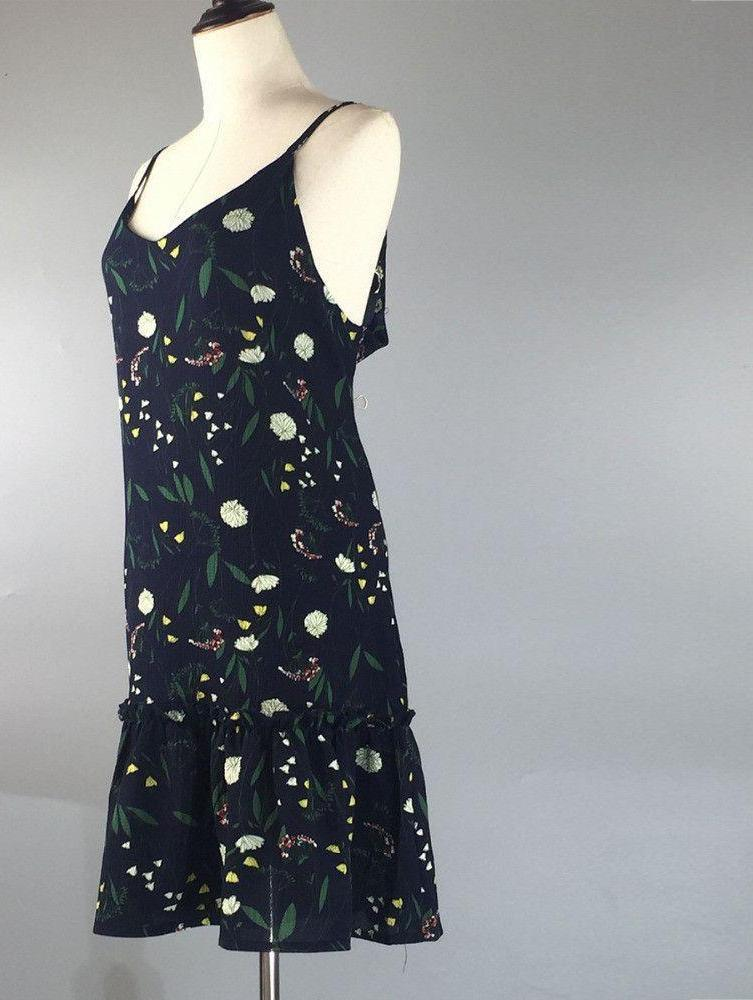 Black Color with Green Print Spaghetti Strap Dress for Women Summer Fashion Bohemian Ladies Casual Chiffon Tunics-Dress-SheSimplyShops