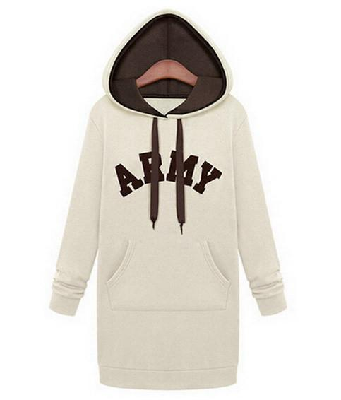 Fashion Autumn Winter Hoodies Fleece Hat Long Sleeve Print Letters Casual Hood Long Sweatshirts-HOODIES-SheSimplyShops